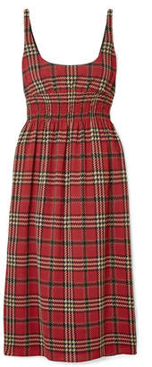 Emilia Wickstead Giovanna Smocked Tartan Crepe Midi Dress - Claret