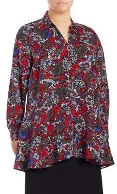 Context Plus Printed Button Peplum Top