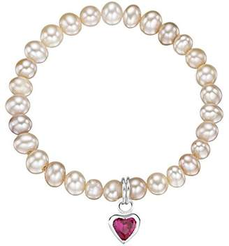 Jo for Girls Sterling Silver and Ruby Red Cubic Zirconia Heart Charm with Pink Freshwater Pearl Bracelet of 14cm