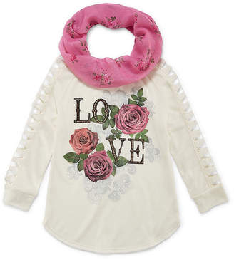 Arizona ArizonaLong Open Crochet Sleeve Graphic Top with Scarf - Girls' 4-16 & Plus