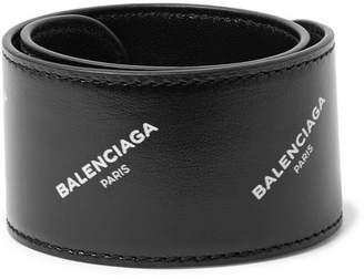 Balenciaga Printed Leather Snap Bracelet - Black