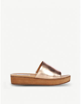 b6c08be272a Steve Madden Genca metallic leather flatform slides