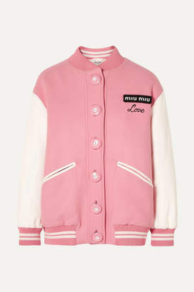 Miu Miu Oversized Two-tone Leather And Wool Bomber Jacket - Pink