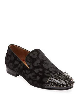 Christian Louboutin Men's Spooky Spiked Red Sole Loafers