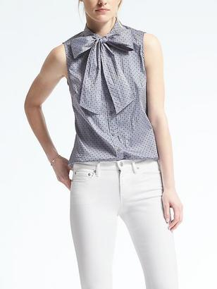 Riley-Fit Dobby Dot Bow Shirt $68 thestylecure.com