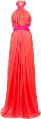 Fendi Brandon Maxwell Two-Tone Gathered Halter Gown