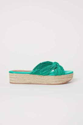 H&M Platform Sandals - Green/satin - Women