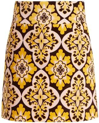 LA DOUBLEJ EDITIONS Tile-print A-line cotton-velvet mini skirt