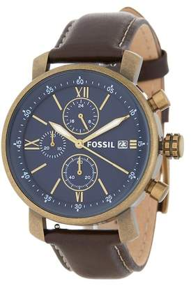 Fossil Men's Rhett Chronograph Leather Strap Watch, 42mm