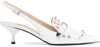 Studded Fringed Leather Slingback Pumps - White