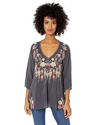 Johnny Was Women's 3/4 Sleeve Embroidered V-Neck Blouse
