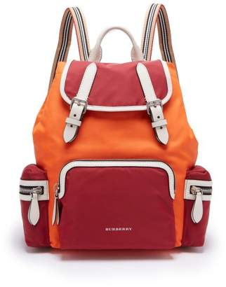 Burberry Medium Nylon And Leather Backpack - Womens - Red Multi