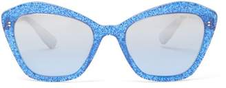 Miu Miu Glittered Square Cat Eye Acetate Sunglasses - Womens - Blue