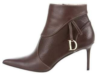 Christian Dior Leather Pointed-Toe Booties w/ Tags