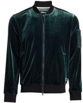 Madison Supply Zip Velvet Bomber Jacket