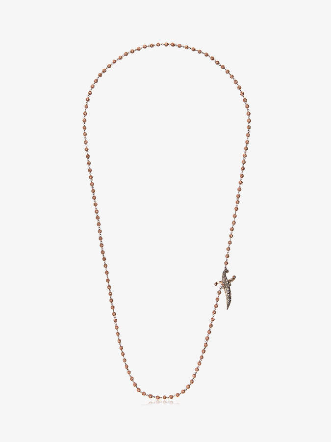 round bead diamond knife clasp necklace