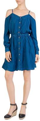 The Kooples Cold-Shoulder Chambray Dress