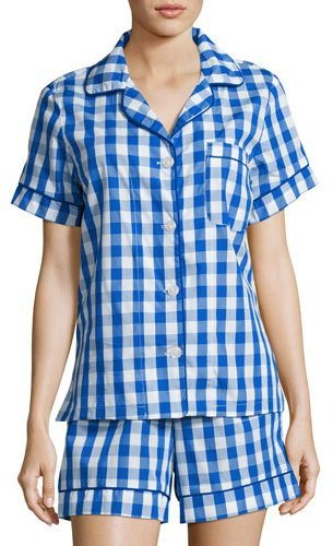 BedHeadBedhead Gingham Shorty Pajama Set, Navy, Plus Size