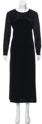 Diane von Furstenberg Velvet Long Sleeve Maxi Dress