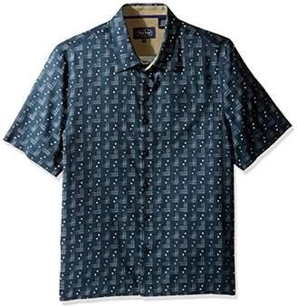 Nat Nast Men's Conversational Print Traditional Fit Silk Blend Shirt