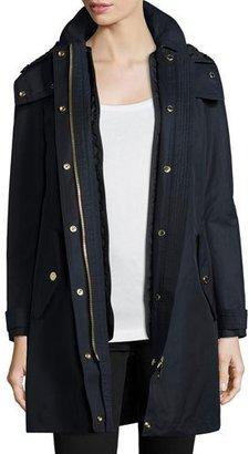 Burberry Harlington Zip-Front Hooded Parka Coat, Navy $795 thestylecure.com