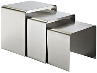 Modway Lexmod Rush 3-Piece Brushed Stainless Steel Nesting Table in Silver