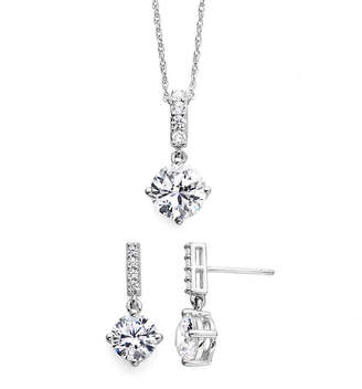 JCPenney FINE JEWELRY DiamonArt Cubic Zirconia Sterling Silver Pendant Necklace and Earring Set