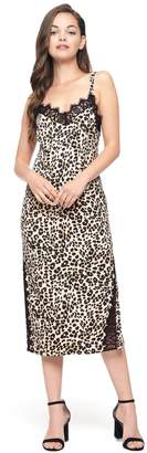 Juicy Couture Leopard Duchess Satin Slip Dress