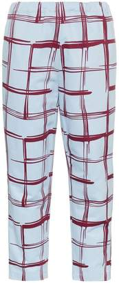 Marni check tapered cotton linen-blend cropped sweat pants