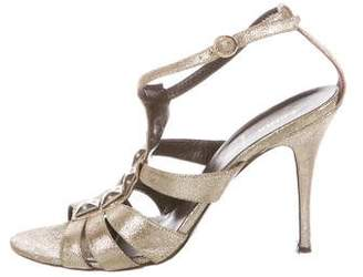Fendi Studded Metallic Sandals