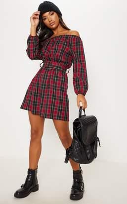 PrettyLittleThing Red Tartan Bardot Belted Mini Dress