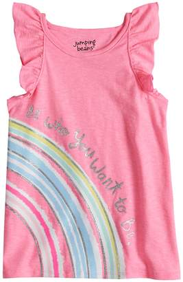 Girls 4-10 Jumping Beans Flutter Sleeve Printed Tank Top