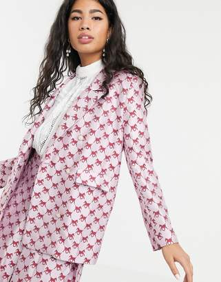Sister Jane double breasted blazer in horse monogram jacquard two-piece