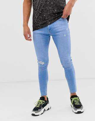 Join Life super skinny jeans with knee rip and abrasions in light blue