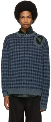 Raf Simons Blue Jacquard Sweater