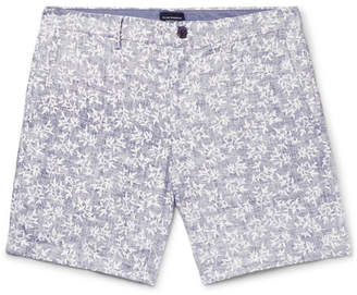 Club Monaco Baxter Slim-Fit Printed Linen And Cotton-Blend Twill Shorts