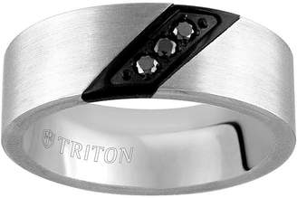 Black Diamond MODERN BRIDE Unisex 8MM 1/10 CT. T.W. Genuine Tungsten Round Wedding Band