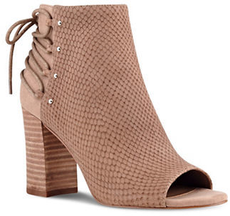 Nine West Nine West Britt Textured Suede Peep Toe Ankle Boots
