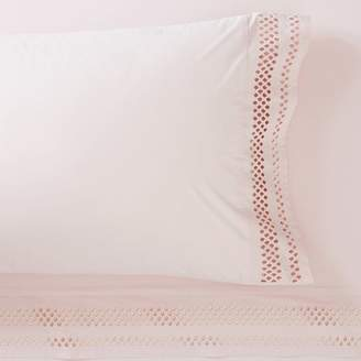 Pottery Barn Teen Diamond Eyelet Organic Sheet Set, Extra Pillowcases, Set of 2, Powdered Blush