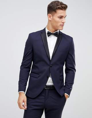 Selected Navy Tuxedo Suit Jacket With Satin Lapel In Slim Fit