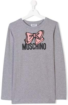 Moschino Kids TEEN logo bow T-shirt