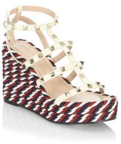 Valentino Rockstud Leather Wedge Sandals