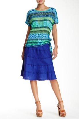 Allen Allen Raw Seam Linen Tiered Skirt (Petite) $68 thestylecure.com