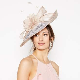Debut - Pink Floral Print Feather And Bow Saucer Fascinator ae3780d83931