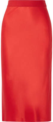 Theory Silk-satin Midi Skirt - Red
