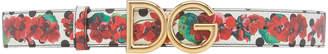 Dolce & Gabbana Floral-Print Leather Logo Belt