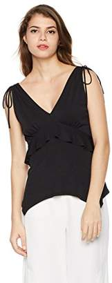 Painted Heart Women's Draw String Ruffle Tank Blouse