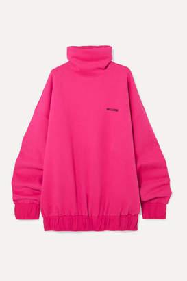 we11done Oversized Embroidered Cotton-blend Jersey Turtleneck Sweatshirt - Fuchsia