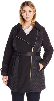Via Spiga Women's Plus Size Asym Hooded Mixed Media Soft Shell