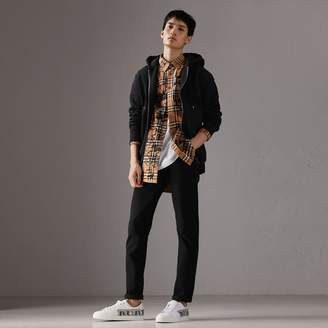Burberry Embroidered Motif Oversize Hooded Cotton Jersey Top